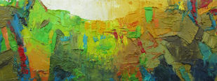 Song of Peace ii by Abhishek Kumar, Abstract Painting, Oil on Canvas, Green color