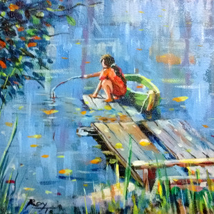 Girl in action by Tapon Roy, Impressionism Painting, Acrylic on Canvas, Cyan color