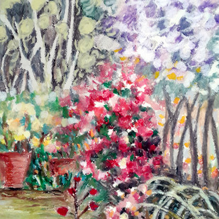 Garden on a windy day by Shalini Sinha, Impressionism Painting, Oil Pastel on Paper,