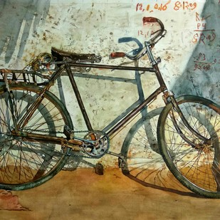 Old cycle by Uday Bhan, Impressionism Painting, Watercolor on Paper, Brown color