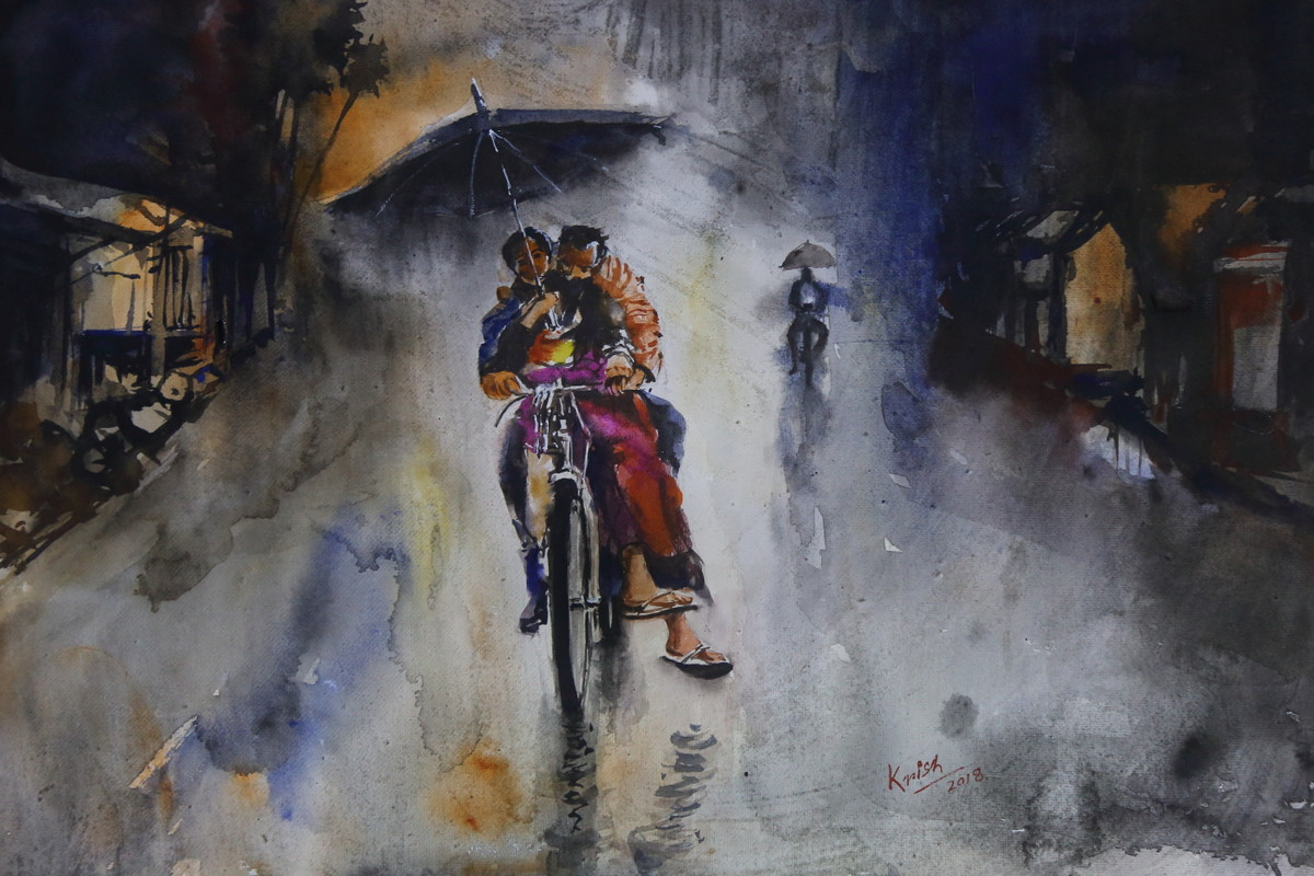 Rainy Day by Krishnendu Chatterjee, Impressionism Painting, Watercolor Wash on Paper, Gray color