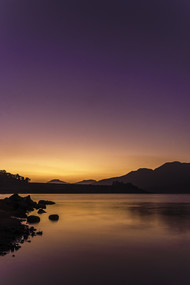 Dawn at Arthur Lake by Natraj Vemuri, Image Photography, Digital Print on Archival Paper, Blue color