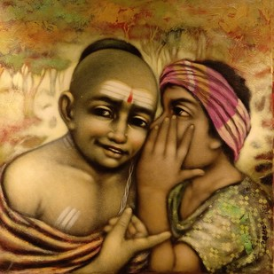 Friends by Apet Pramod Mahadev, Expressionism Painting, Acrylic on Canvas, Brown color