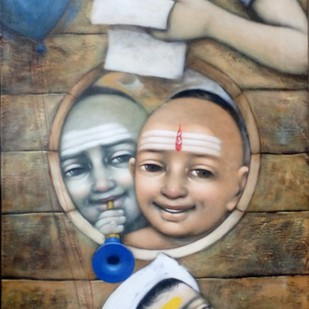 Compound by Apet Pramod Mahadev, Expressionism Painting, Acrylic on Canvas, Brown color