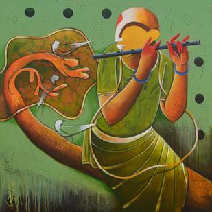 Hearken Digital Print by anupam pal,Expressionism