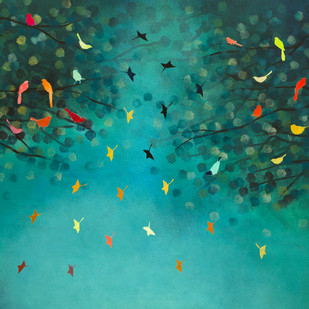 Sky Song by Priyanka Waghela, Expressionism Painting, Acrylic on Canvas, Green color
