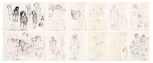 Early drawings - Set of 12 by Thota Vaikuntam, Illustration Digital Art, Pencil on Paper, Beige color