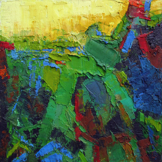 Sacred Nature by Abhishek Kumar, Abstract Painting, Oil on Canvas, Green color