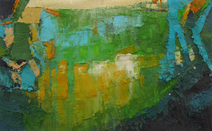 Song of Peace by Abhishek Kumar, Abstract Painting, Oil on Canvas, Green color