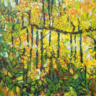अमलतास / Blooming Amaltas: Summer in Delhi (2) by Animesh Roy, Impressionism Painting, Acrylic on Canvas, Green color