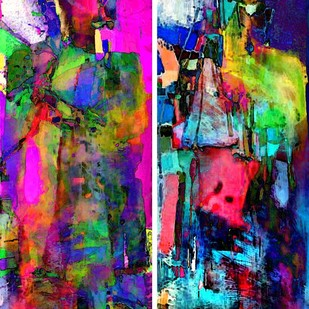 Mystic Lovers by Abhishek Kumar, Abstract Digital Art, Digital Print on Canvas, Blue color