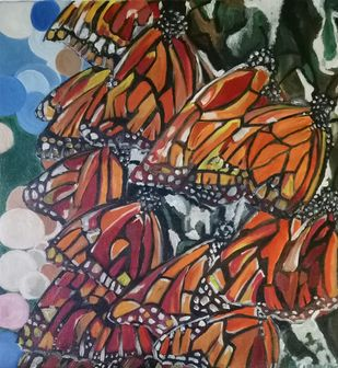 The monarch colony by Rupinder kaur, Expressionism Painting, Oil on Canvas, Brown color