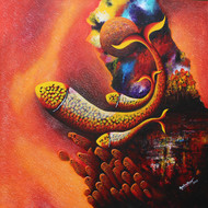Mother & Child, Emotion Series-45 by Sharad Ambulkar, Expressionism Painting, Acrylic on Canvas, Brown color