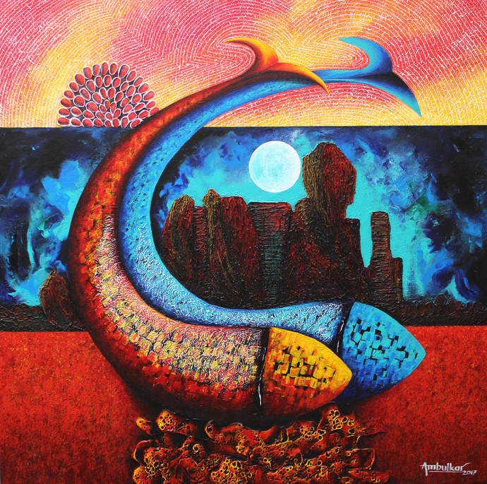 Emotions Series - 36 by Sharad Ambulkar, Expressionism Painting, Acrylic on Canvas, Brown color