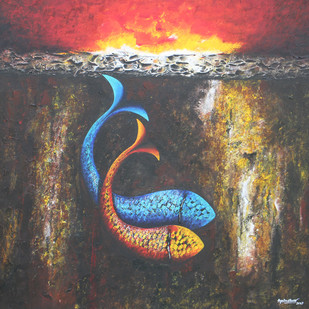 Emotions Series- 37 by Sharad Ambulkar, Expressionism Painting, Acrylic on Canvas, Brown color