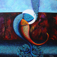 Emotions Series - 32 by Sharad Ambulkar, Expressionism Painting, Acrylic on Canvas, Blue color
