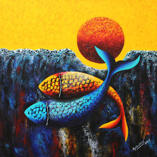 Emotions Series - 58 by Sharad Ambulkar, Expressionism Painting, Acrylic on Canvas, Blue color