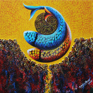 Emotions Series - 65 by Sharad Ambulkar, Expressionism Painting, Acrylic on Canvas, Brown color