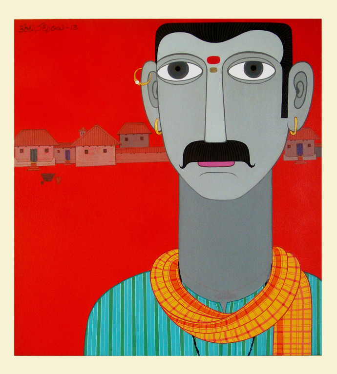 Telangana Man by Kandi Narsimlu, Traditional Painting, Acrylic on Canvas, Red color