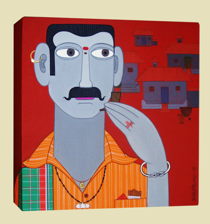 Telangana Man by Kandi Narsimlu, Traditional Painting, Acrylic on Canvas, Brown color