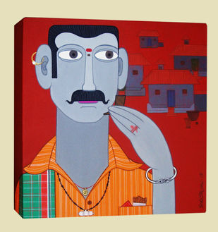 Telangana Man by Kandi Narsimlu, Traditional Painting, Acrylic on Canvas, Brown color