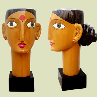 Telangana woman by Kandi Narsimlu, Art Deco Sculpture | 3D, Fiber Glass, Yellow color