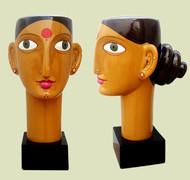 Telangana woman by Kandi Narsimlu, Art Deco Sculpture | 3D, Fiber Glass, Yellow color