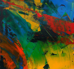 Untitled-19 by Abhishek Kumar, Abstract Painting, Acrylic on Paper, Green color