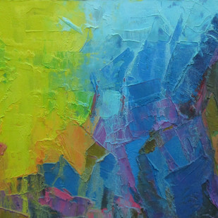Yellow Depth by Abhishek Kumar, Abstract Painting, Oil on Canvas, Green color