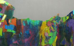 Nagarhole II by Abhishek Kumar, Abstract Painting, Oil on Canvas, Gray color