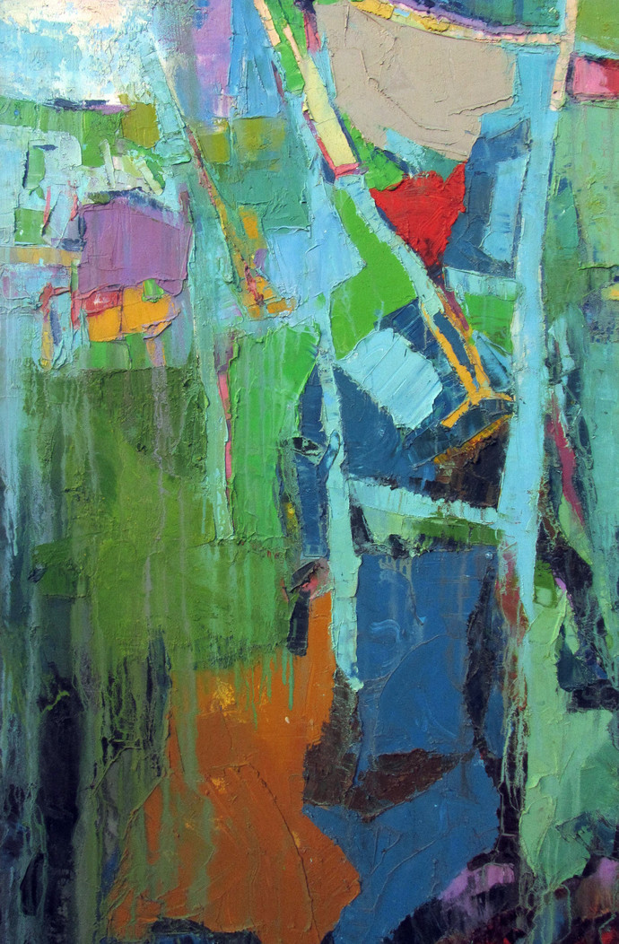 read the city IV by Abhishek Kumar, Abstract Painting, Oil on Canvas, Green color