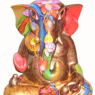 Big Ganesha by Sachindranath Jha, Art Deco Sculpture | 3D, Fiber Glass, White color