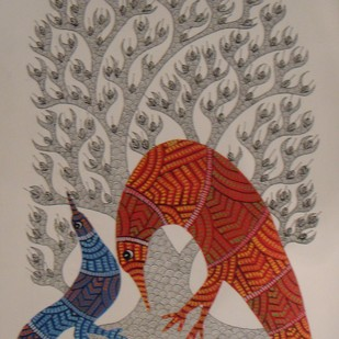 Untitled by Dhawat Singh Uikey, Tribal Painting, Acrylic & Ink on Paper, Brown color