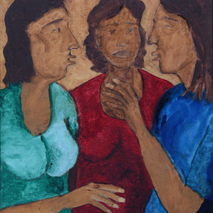 Untitled by Shamshad Hussain, Expressionism Painting, Oil on Canvas, Brown color