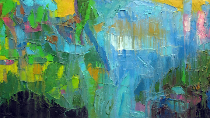Yellow and Green lights by Abhishek Kumar, Abstract Painting, Oil on Canvas, Green color