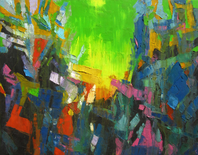 Green Sky by Abhishek Kumar, Abstract Painting, Oil on Canvas, Green color