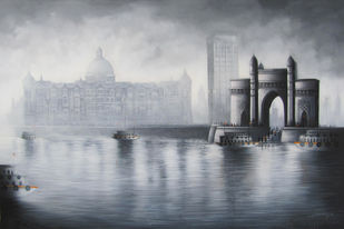 Gateway of India by Somnath Bothe, Impressionism Painting, Mixed Media on Canvas, Gray color