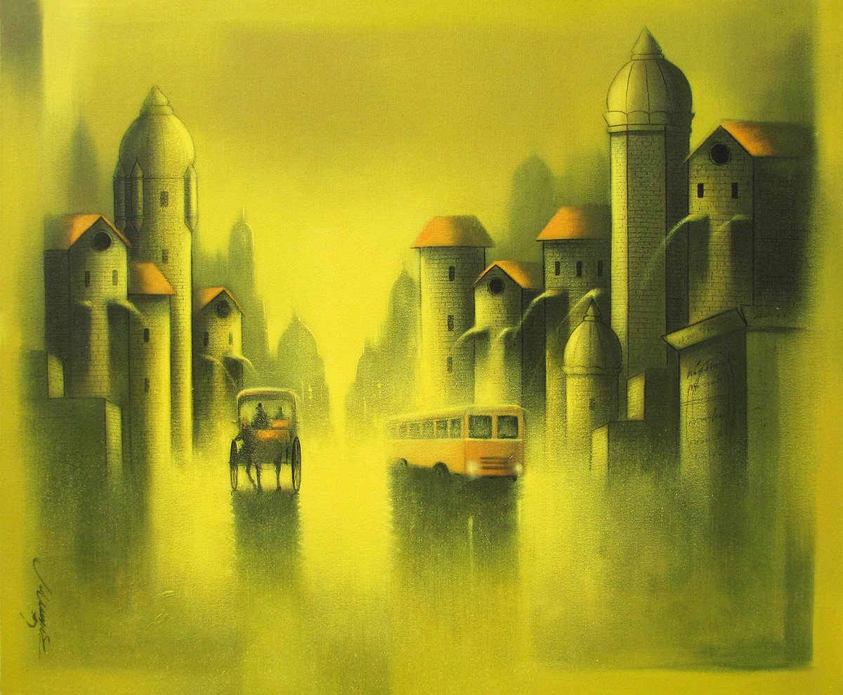 Mindscape by Somnath Bothe, Impressionism Painting, Acrylic on Canvas, Green color