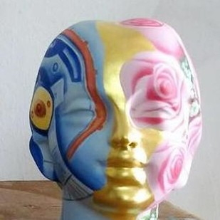 Head by Venkat Bothsa, Art Deco Sculpture | 3D, Fiber Glass, Gray color
