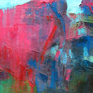 Read the City-I by Abhishek Kumar, Abstract Painting, Oil on Canvas, Green color