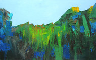 Nagarhole by Abhishek Kumar, Abstract Painting, Oil on Canvas, Green color