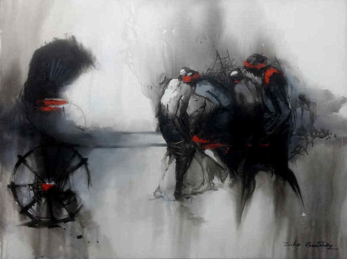 Courageous Crusaders XI by Dilip Chaudhury, Impressionism Painting, Acrylic on Canvas, Gray color