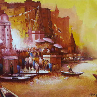 Magical Benares I by Dilip Chaudhury, Impressionism Painting, Acrylic on Canvas, Brown color