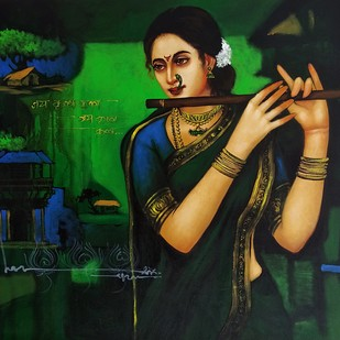 untitled by Anand Dharmadhikari, Expressionism Painting, Acrylic on Canvas, Green color