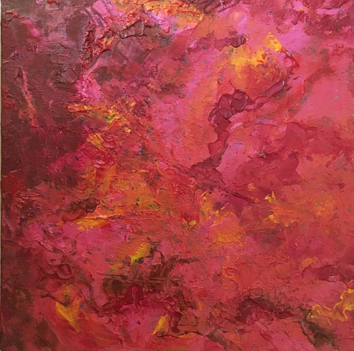Muse by Manpreet , Abstract Painting, Oil on Canvas Board, Red color