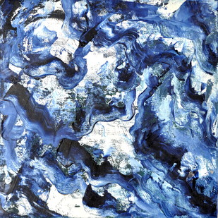 Flow by Manpreet , Abstract Painting, Oil on Canvas Board, Blue color