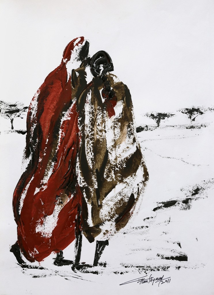 untitled by Ghanshyam Kashyap, Painting, Acrylic on Paper, Gray color