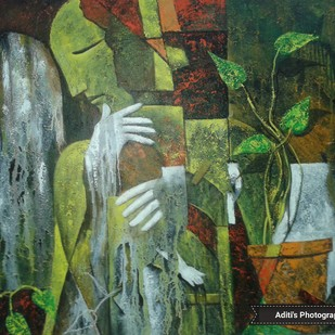 Untitled by Aditi Das, Expressionism Painting, Acrylic on Canvas, Green color