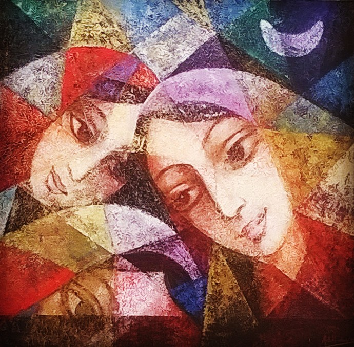 Sisters by Aditi Das, Expressionism Painting, Acrylic on Canvas, Brown color