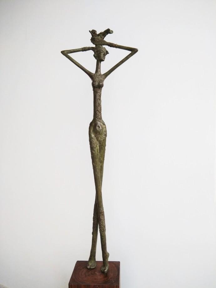Free by BASUDEB BISWAS, Art Deco Sculpture | 3D, Bronze, Gray color